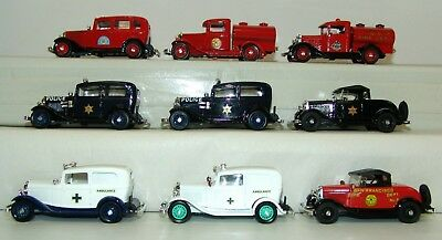 Eligor 1:43 Lot Of 9 1932 Ford Fire Trucks Ambulance Police Car Collection