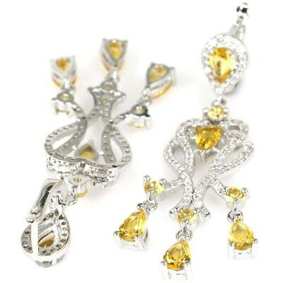 Gorgeous Golden Citrine, CZ Woman's Party Silver Earrings
