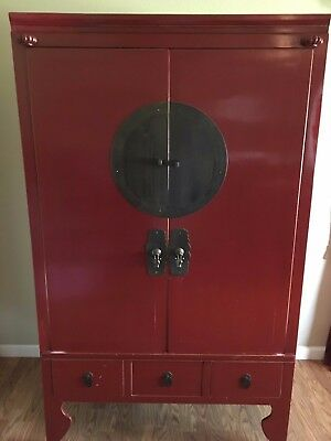 Beautiful Red Chinese Lacquered Antique 19th Century Wedding Cabinet Armoire