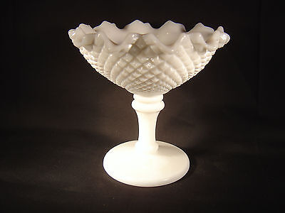 """Westmoreland English Hobnail 5"""" Footed Compote - Crimped Rim - Milk Glass EH128"""