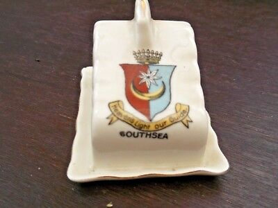 Model Of A Cheese Dish And Underplate Combined Crested Southsea  No Maker