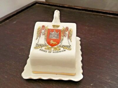 Model Of A Cheese Dish And Underplate  Crested Arms Of Norwich  No Maker