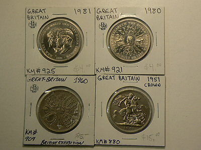 Great Britain Crown Size Coins 1951 1960 1980 & 1981 All Unc #G7482