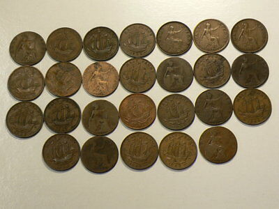 Great Britain 1887 to 1967 Date Set Lot of 26 1/2 Half Pennies #G7872