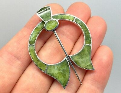 Rare Antique Victorian Scottish Iona Marble Agate Silver Penannular Brooch Pin