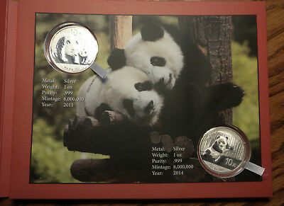 SET: 2011 & 2014 Silver Pandas Hand SIGNED by Rocky Zhao designer China Mint