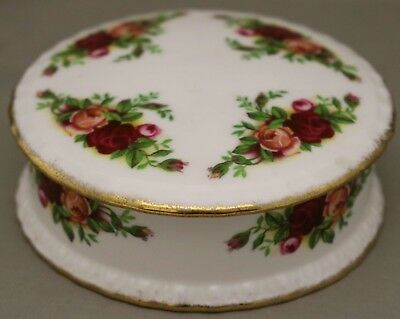"Royal Albert Round Lidded Trinket Box - ""Old Country Roses"" - *Made in England.*"