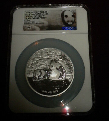 2015 5 oz Silver Panda First Reverse Proof PF 70 Certified Florida Fun Show coin