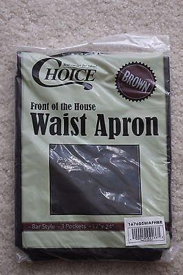 Choice Brown Bar Style Front of the House Waist Apron. set of 6, new in package