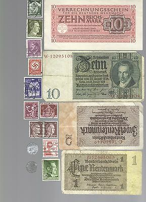 Nazi Germany Banknote, Coin And Stamp Set  # 124