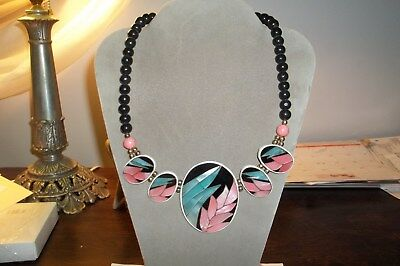 Vintage Inlaid Mother Of Pearl Necklace With Beads