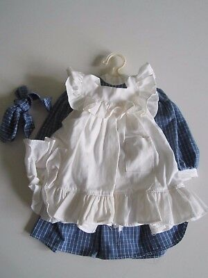 American Girl SAMANTHA Blue  Play Dress  ORIGINAL 1992 Pinafore Ribbon Pleasant