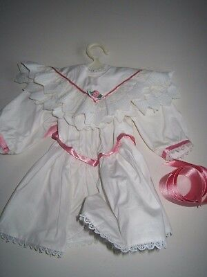 American Girl SAMANTHA Tea Dress White Pink Ribbon Detach. Collar  90s Original