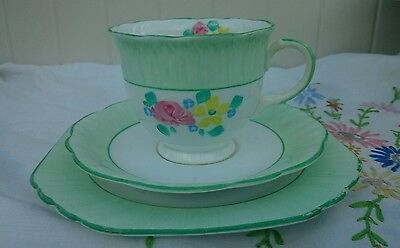 Vintage 1930's Art Deco Foley Hand Painted Trio Cup,Saucer, Plate,  Green Floral