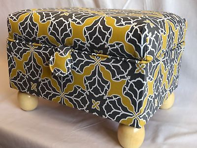 Luxury Footstool Sewing Box Basket Grey & Gold - Craft Box Storage Case Gift
