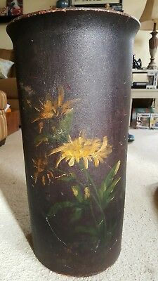 """ANTIQUE INDURATED FIBRE CO.  1886 Umbrella/Cane stand,  30"""" tall, painted later"""