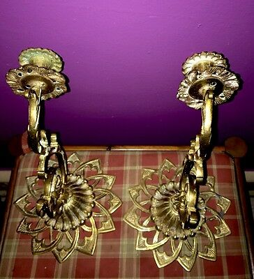 Wall Sconces Pair Huge RARE ANTIQUE FRENCH BRONZE / BRASS  Candle Holder (2)