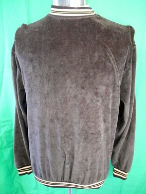 Vintage 70s Fleecy Brown Australian Made Bewarm Velour Round Neck Sweater 100cm