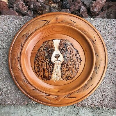 Hand Painted Cavalier King Charles Spaniel Original Wood plate woodburning