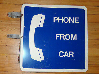 BELL TELEPHONE SIGN ~ PAY PHONE BOOTH FROM CAR POLE MOUNT ~ 2-sided ATT