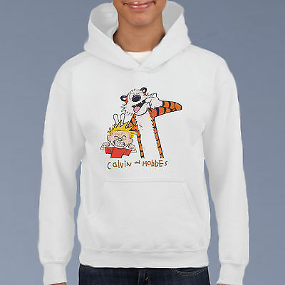 calvin and hobbes Kids Hoodie, Youth Pullover Size 6-12 Cartoon Comic Sweat