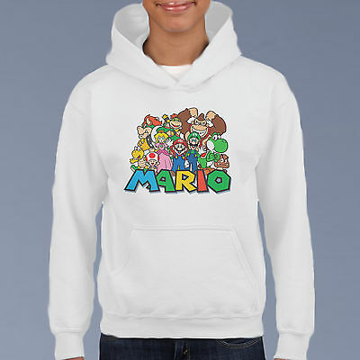 Mario All Stars Kids Hoodie, Youth Pullover Size 6-12 Cartoon Comic Sweat Shirt