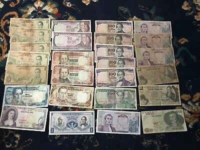 Lot of 24 vintage Colombian banknotes