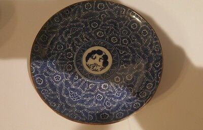 Japanese Blue & White Hand Painted Plate 19th century
