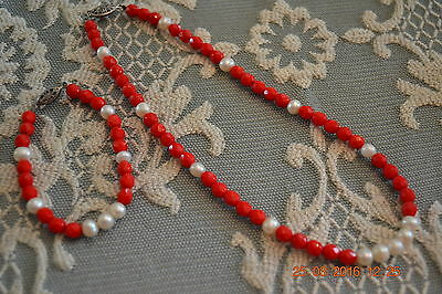 Hand Crafted Vintage Red Glass Beads with Freshwater Pearls Necklace & Bracelet