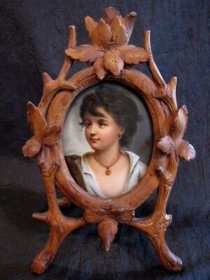 Xfine 19Th Century Gypsy Girl Hand Painted Portrait On Porcelain Plaque W/ Frame