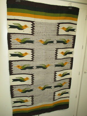 "VINTAGE NAVAJO BIRD BLANKET RUG 58"" x 33"" EXCELLENT CONDITION"