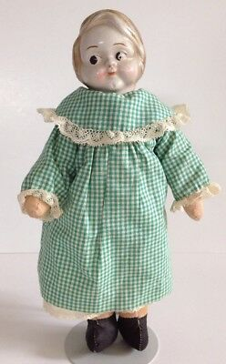 Early Molded Hair Composition Cloth Doll Antique Vintage 1910s-20s Campbell Kid?