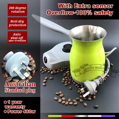 Green Electric Turkish coffee maker with Sensor Coffee Nevery Spilling Out 200ml