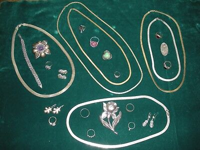 Sterling & 2 Pieces Gold/ Necklaces Rings Brooch/Pins Bracelet Earrings Lot