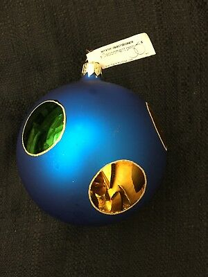 "Department 56 glass ball, 4"" blue with gold and green dots, with tag"