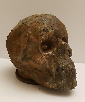 Antique Industrial Unusual Rare Scary Human Skull Copper Head Mold