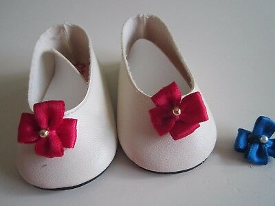 American Girl FELICITY White Shoes w/ Cranberry Accents Original Early 90's +