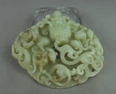 The ancient jade collection of Hetian jade arm hand carved in high relief