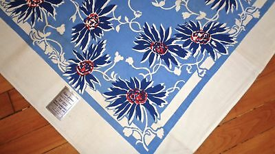 "Vintage Mwt Color-Fornia Blue ""nasturtium"" Tablecloth California Hand Printed"