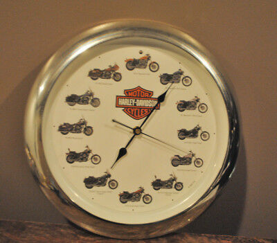 """Harley-Davidson Motorcycle 13"""" Wall Clock With Realistic Sounds Every Hour"""