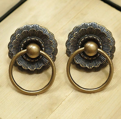 Lot of 2 pcs Vintage LOTUS Flowers Brass Cabinet Door Drawer Round Pull Handle