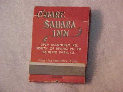 Super Rare Used By The Beatles Matchbook 1964 At O'Hare Sahara Inn Authentic