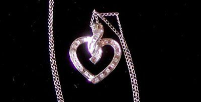 ESTATE NATURAL DIAMOND 10K WHITE GOLD HEART PENDANT and NECKLACE - .50 carat TDW