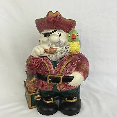 """Fitz and Floyd 1993 OCI Omnibus Pirate Captain With Parrot 13"""" Tall Cookie Jar"""