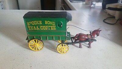 Vintage heavy cast iron Brooke Bond Tea Coffee horse drawn wagon w/driver