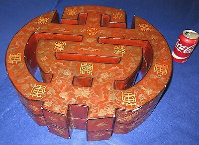 "Chinese Reticulated Marriage Box Red Lacquer 20"" Dia Unusual Design Antique"