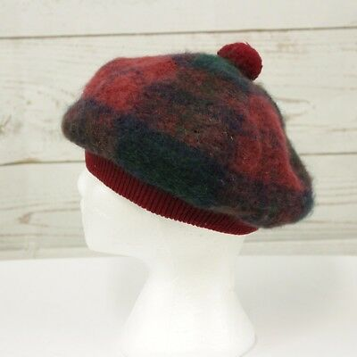 HIGHLAND HOUSE INDUSTRIES Plaid  Vintage Tam Hat 70% Mohair 30% Wool  Red Blue