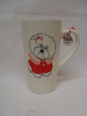 "Dept. 56 BICHON FRISE DOG 6"" Tall Coffee Mug With Charm NWT UNUSED"