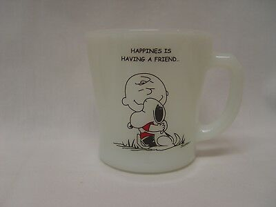 Peanuts Charlie Brown & Snoopy Happiness Is Having A Friend Fire-King Coffee Mug