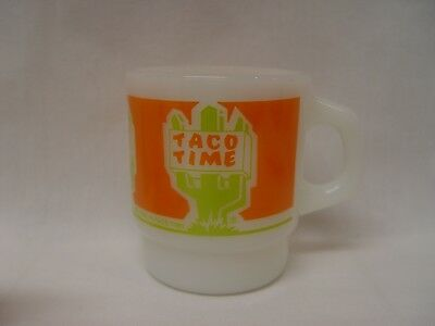Fire-King Taco Time Mexican Fast Food Advertising Coffee Mug